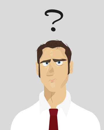 dilemma: Businessman standing and thinking. Dilemma of businessman