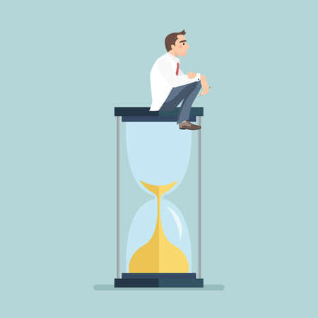 Businessman keeps thinking and sitting on a hourglass, creative thinking. vector