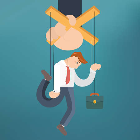 puppeteer: Worker marionette on ropes controlled boss hand. Vector flat illustration