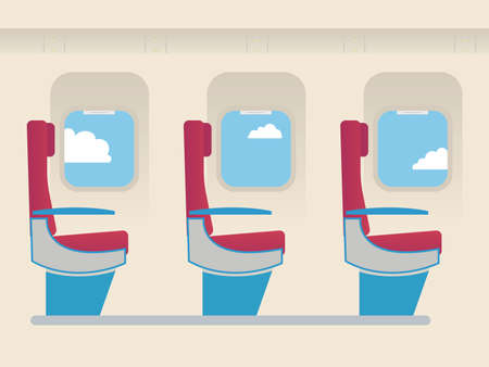 economy class: The interior of the passenger cabin of the aircraft. Chair of economy class and illuminative window.