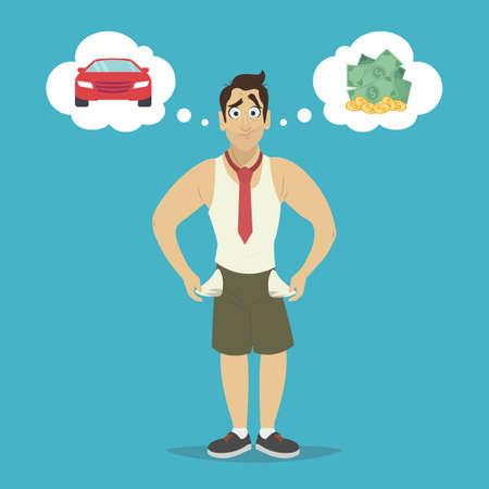 Businessman with no money, bankrupt. Man dreams of a car and money.