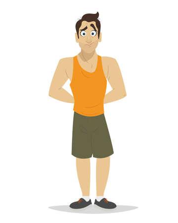 slip homme: Honteux jeune homme en sous-vêtements. Homme d'affaires en faillite Illustration