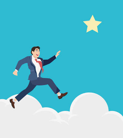 reach out: Businessman jumps to reach out for the star, for aspiration. Motivation in business concept. Illustration
