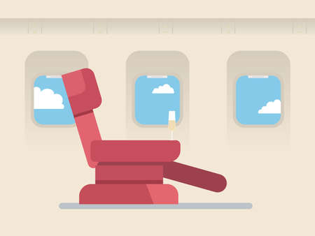 airplane: The passenger seat in airplane business class. Champagne on the site of the chair.