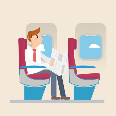 economy class: Passengers in economy class aircraft. Limited space for reading newspapers.