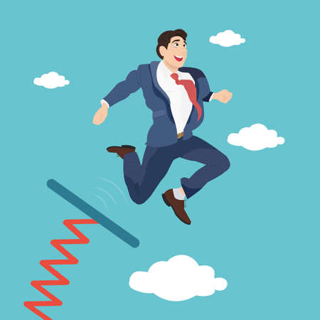 Businessman jumping from springboard on blue sky background. Business success start.