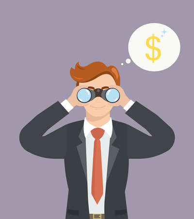 Businessman with binoculars looking for money. Vector Business concept. Illustration