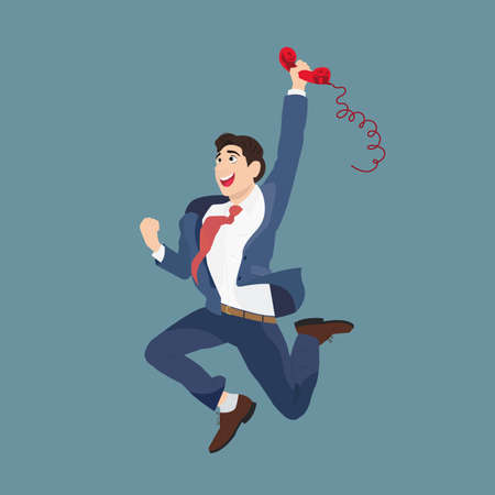 man jumping: Joyful businessman with a handset. Vector illustration of a happy businessman talking on the phone jumps.