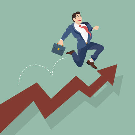 happy employee: Businessman jump over growing chart. Happy employee and growth of the business.