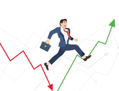 Business man run in world ups and downs. Illustration of a manager jumping over arrow symbol. Illustration