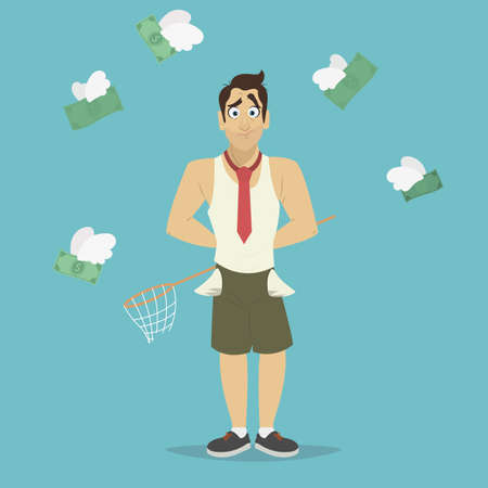 moneyless: Businessman with a broken net for money that was flying like a bird. Businessman has no money vector