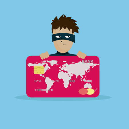 Thief holding credit card in hand. Man in black mask stealing money. Illustration