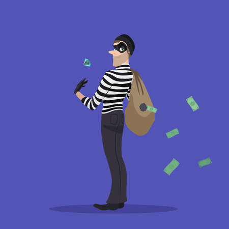 A thief with a stolen diamond, and a bag of money. Robber with a bag of stolen goods. Illustration