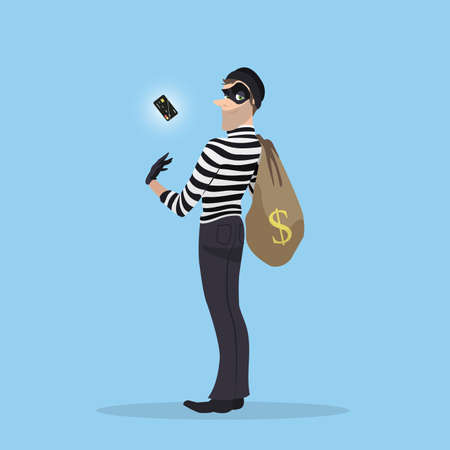 A thief stole a credit card with money. Robber with a bag of stolen goods. Illustration