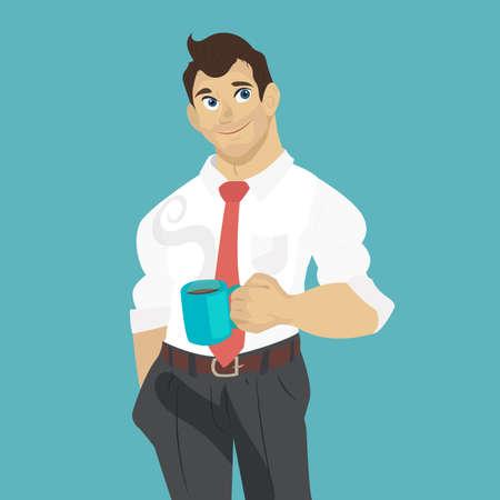 break in: Businessman drinking coffee, tea break time in bright office. Illustration