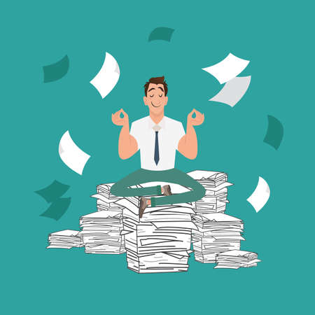 pile of documents: Businessman meditating in peace on a pile of documents. Businessman has a lot of work to do. Flat office illustration. Illustration