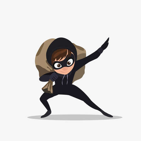 rob: Sneaking thief isolated on white background. Thief in action, cartoon character, flat style, vector illustration