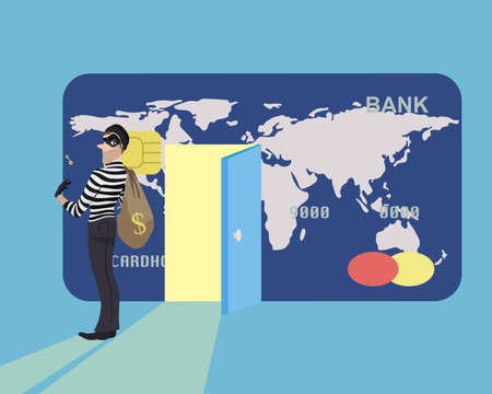 stole: Burglar money from credit card and run away. A thief stole a key from a credit card. Illustration