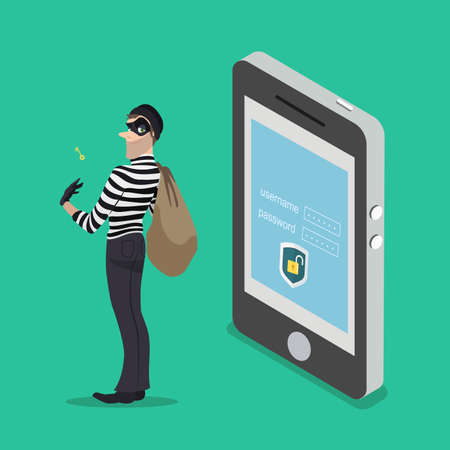stealing data: Thief with a key access from a smartphone. The robber steals all the data from your phone