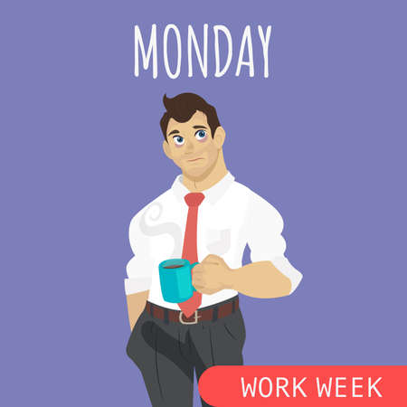 Sleepy and tired businessman with coffee flat vector illustration. Monday awful mood. Office worker weekly. Monday morning syndrome. Illustration