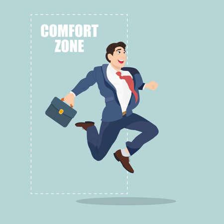 De negocios que salta fuera de la zona de confort para el éxito. Ilustración vectorial de dibujos animados. Ilustración de vector