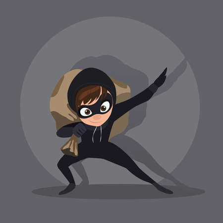 stole: Thief with bag of money, in dark suit, stole, robber runs, on white background, in black mask, criminal in flat style. Illustration