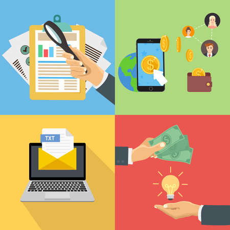 Set of flat and colorful business and finance concepts. Documents and a magnifying glass, obtain the money for the idea. Laptop with the received document. Illustration