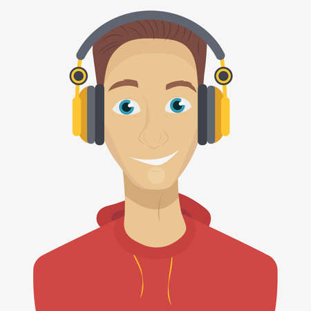 joyful: Man listening to music through headphones. Vector illustration in cartoon style. Text on the background.