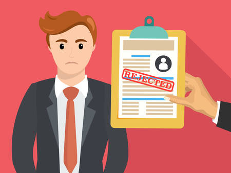 denial: Boss hand hold rejected paper document. Job application rejected. Vector flat illustration