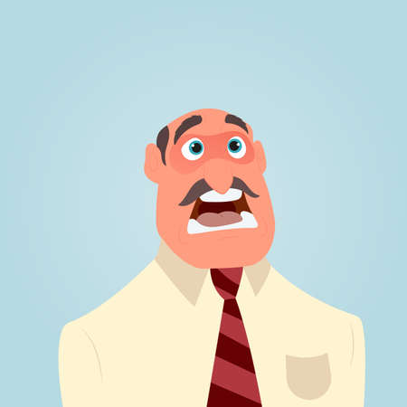 Businessman shocked or surprised with wide open mouth, for emotion expression concept design. Vector flat illustration