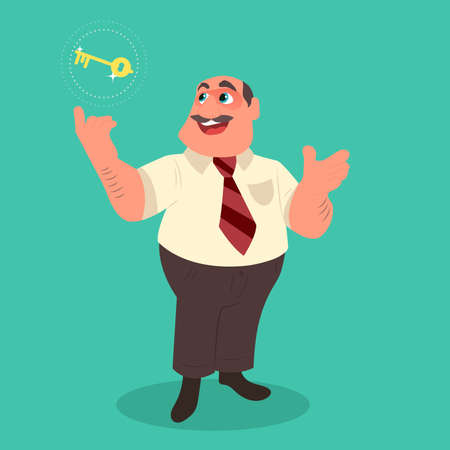 Businessman holding golden key secret of success. Flat style vector illustration.
