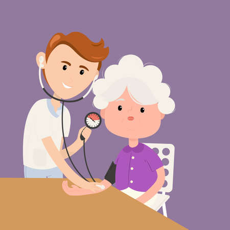 Grandmother measures pressure with doctor in clinic. Doctor measures the blood pressure patient. Vector illustration