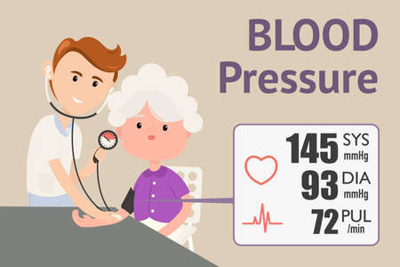 Grandmother checking blood pressure with digital blood pressure meter. Doctor measuring blood pressure of patient. Vector flat design illustration.