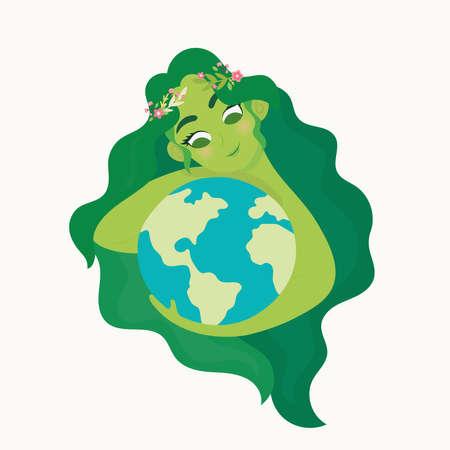 Vrouw met ecologiewereld Aardedag. Moeder natuur zorg concept. Stock Illustratie