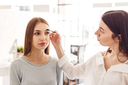 corrects: Master makeup corrects, and gives shape for eyebrows in a beauty salon. Professional care for face.