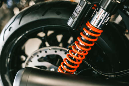 Closeup of springs, shock absorbers motorcycle big bike. Rad shock Absorbers motorcycle . focus on suspension.