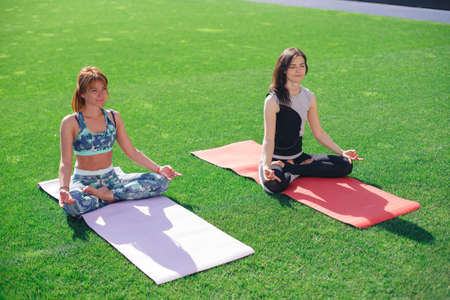 Two young women meditate sitting on a green lawn. Women practicing yoga in the park and sport yoga.