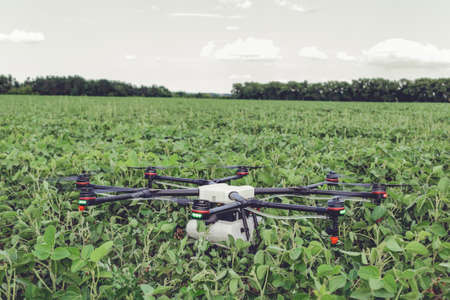 Professional agriculture drone stands on the ground green field. Octocopter flight preparation Stock Photo