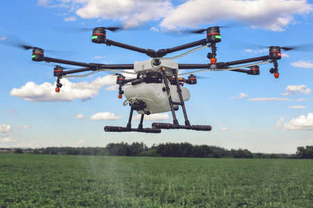 Agriculture drone fly to sprayed fertilizer on the green fields. drone flying with blue sky.