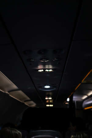 Signs in the airplane at the night