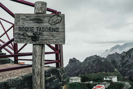 Wooden plaque of the village Roque Taborno on the Canary Islands
