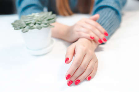 Closeup of hands of a young woman with red manicure Stockfoto