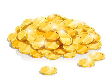 Una ilustración vectorial de monedas de oro