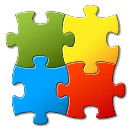 Four colorful puzzle pieces