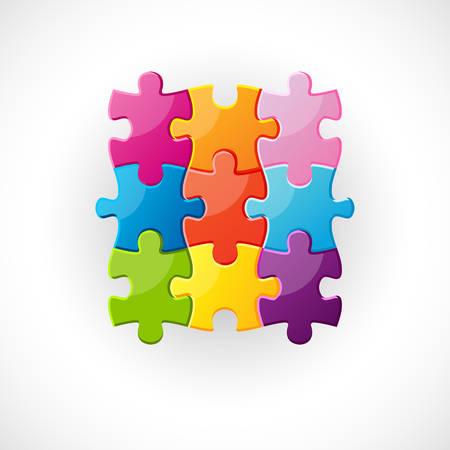 9 개의 다채로운 퍼즐 조각