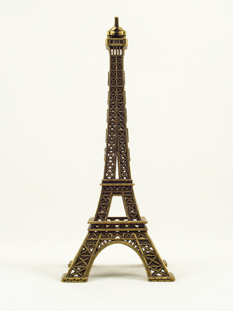 french model: Eifel tower model on white background Stock Photo