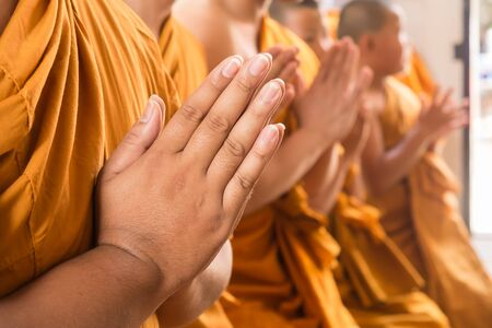 buddha hand: Hand of young Asian monk pay respect to the Buddha Stock Photo