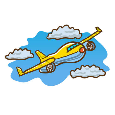 Vector illustration of a yellow airplane flying in the sky through clouds.