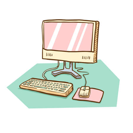 Vector hand drawn illustration of computer desktop with keyboard, monitor, and mouse on green background
