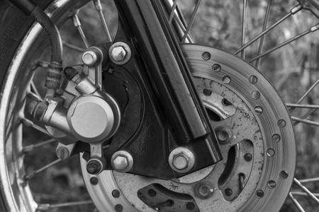 Brake disc on the front wheel of motorcycle